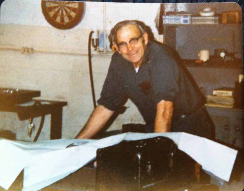 Andy Corell working at his other job — as a machinist. Circa 1975. (Photo by Jeff Ellinger)